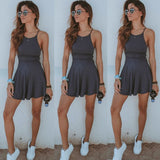 Women Summer Casual Sleeveless Evening Party Beach Dress Short Mini Dress (Gray,Black,Burgundy)
