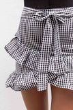 Women Sweet Irregular Plaid Skirts