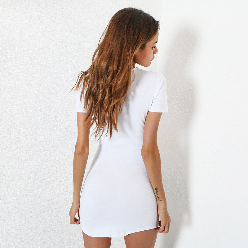 Solid Color Short-Sleeved Package Hip Dress
