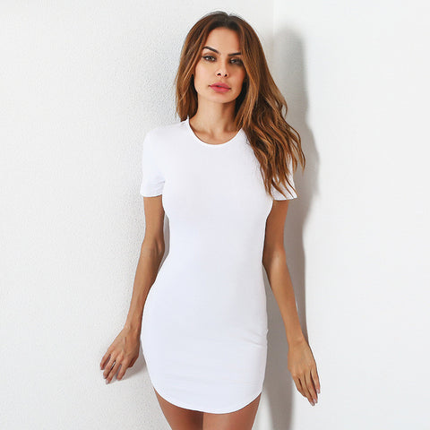 SEXY PACKAGE HIP SHORT-SLEEVED DRESS