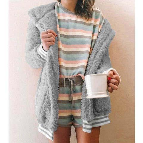 Fashion Cardigan Pocket Knitted Long Sleeve Sweater