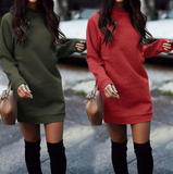 Solid Color Fashion Round Neck Long Sleeve Dress