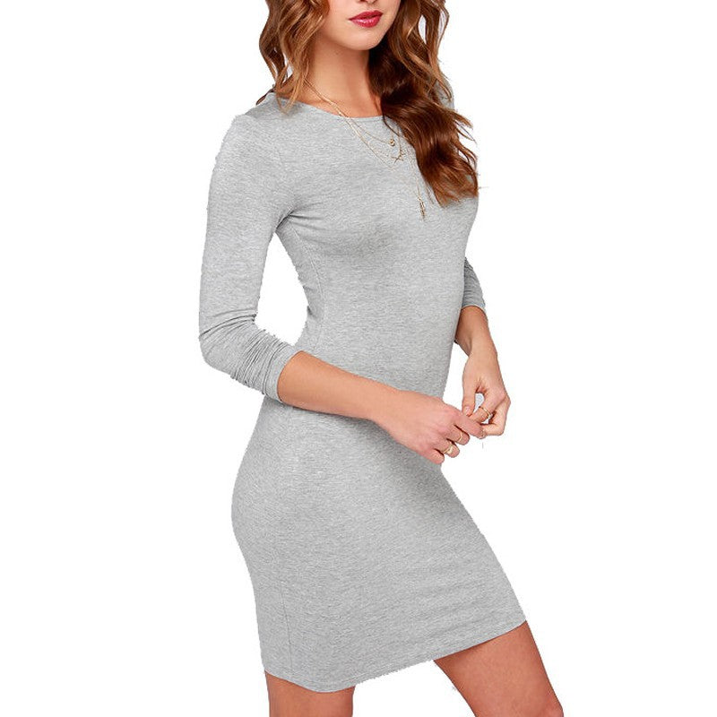 Women's Fashion Slim Solid Color Long Sleeve Dress