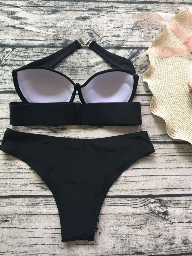 2018 Fashion Sexy Two-piece Bikini Black Swimwear