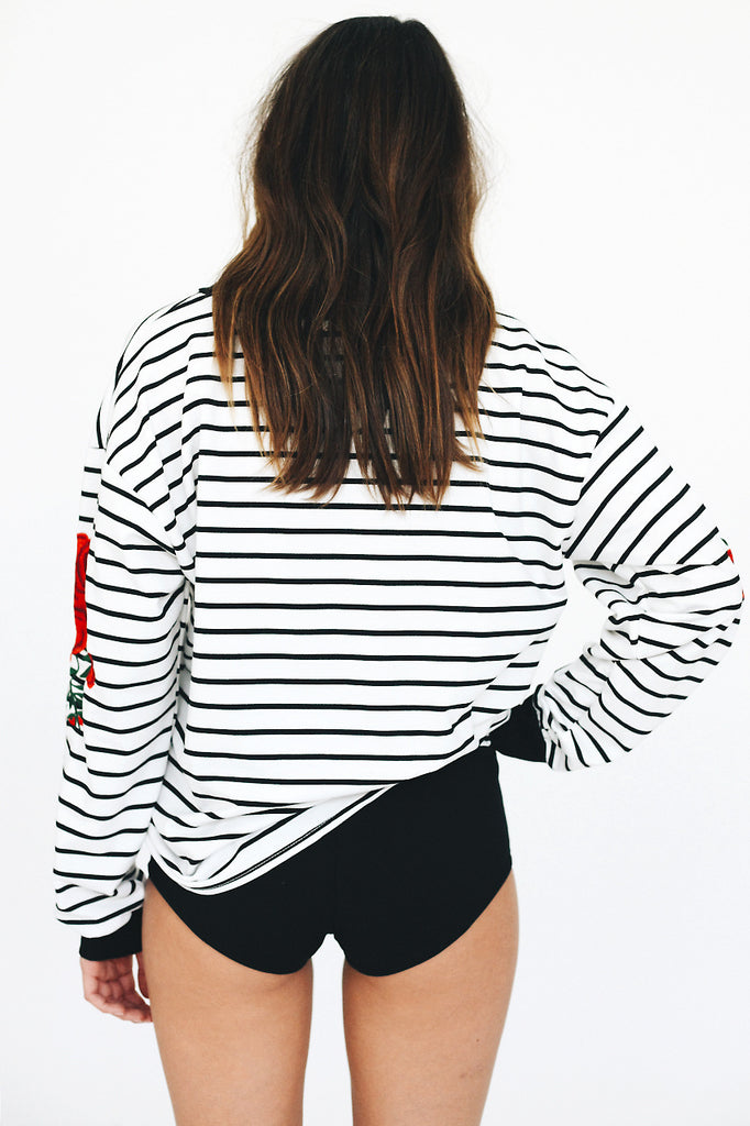 Embroidered Long-Sleeved Striped Bat Sleeve Sweater
