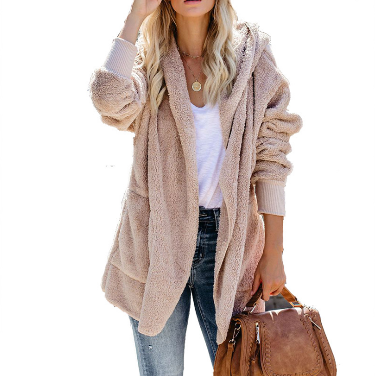 Solid Color Women'S Long-Sleeved Hooded Cardigan Coat