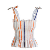 Sling Striped Bowknot Vest Tops