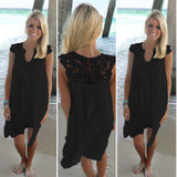 Loose Lace Stitching Chiffon Sleeveless Dress