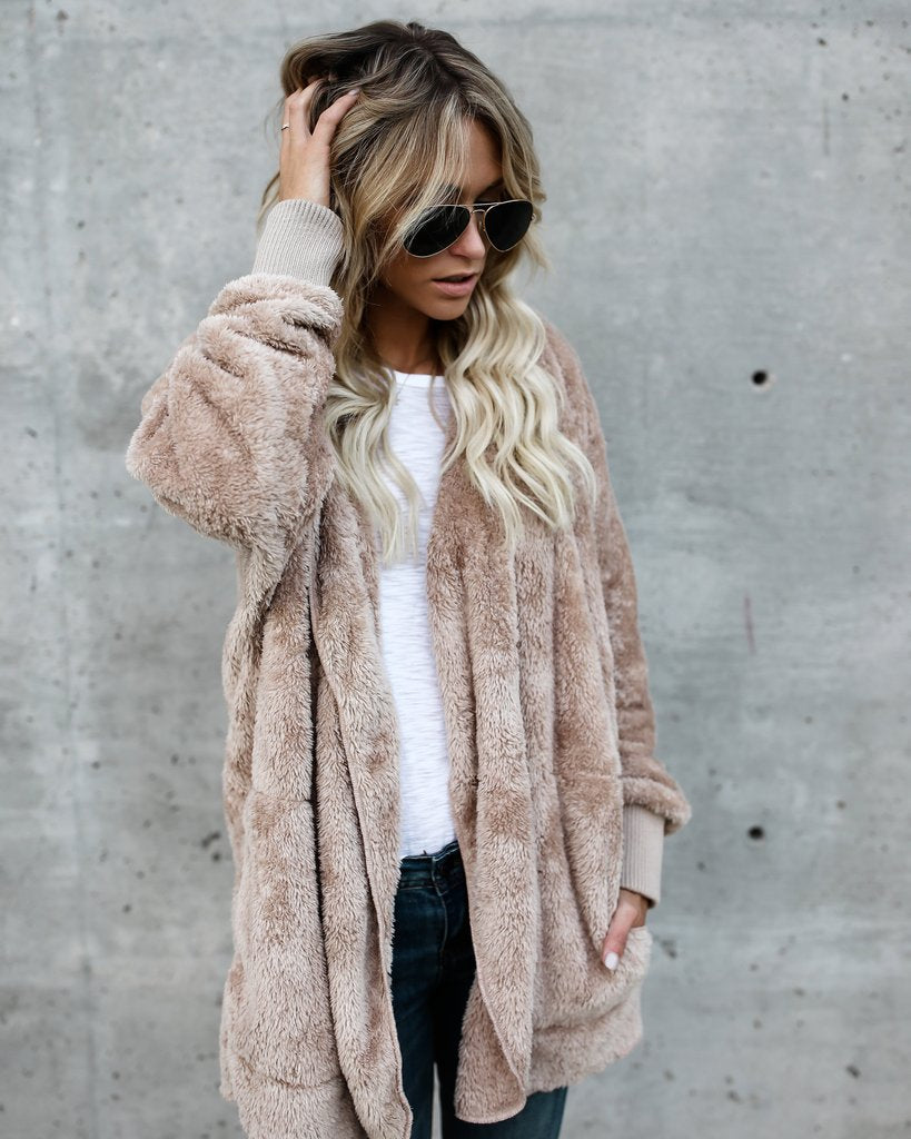New Year Spring Faux Fur Teddy Bear Coat Jacket Women Fashion Open Stitch Hooded Coat Female Long Sleeve Fuzzy Jacket