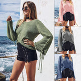 Women'S Round Neck Long Sleeve Sweater Top