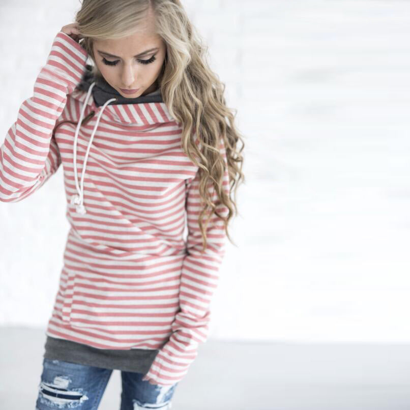 Fashion Stripes Stitching Hooded Sweater