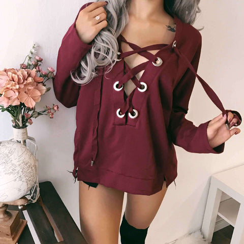 Casual V-Neck Long-Sleeved Shirt Top