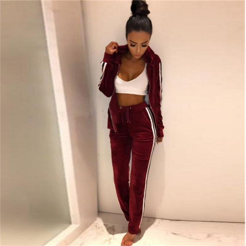 Solid Color Women Long-Sleeved Cardigan Hooded Two-Piece Trousers