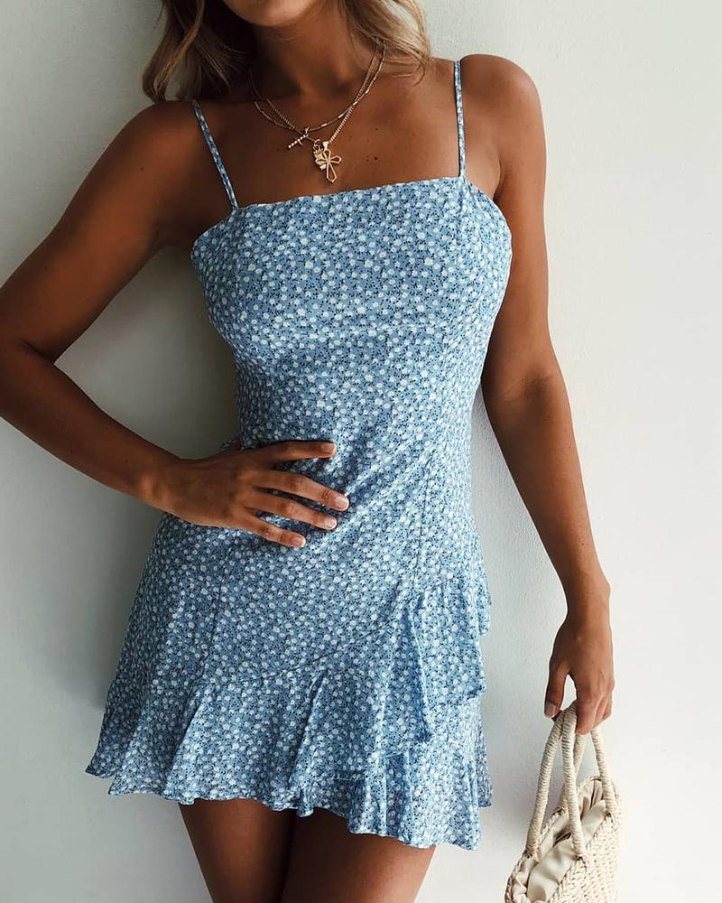 Casual Printed Blue Floral Sleeveless Sling Dress