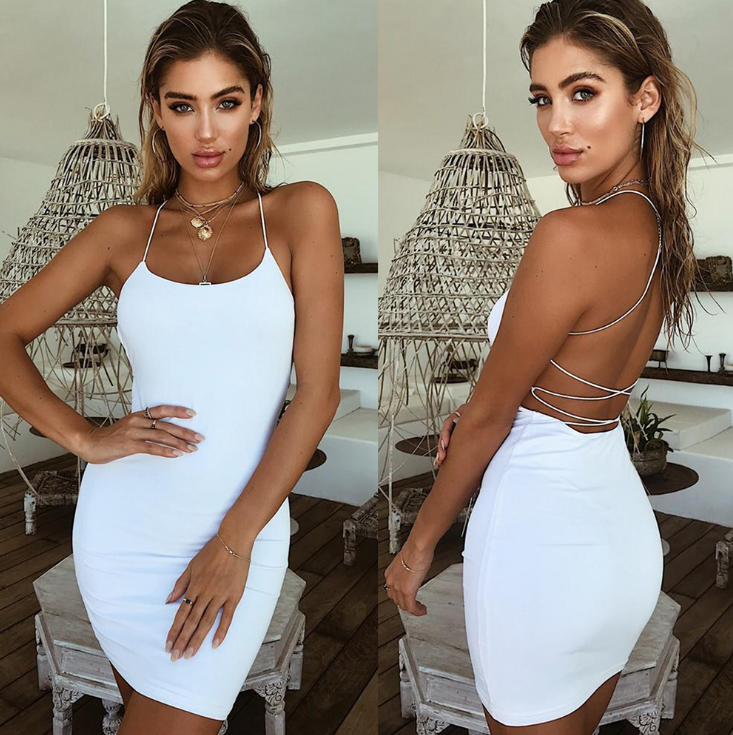 Women'S Solid Color Sexy Backless Dress