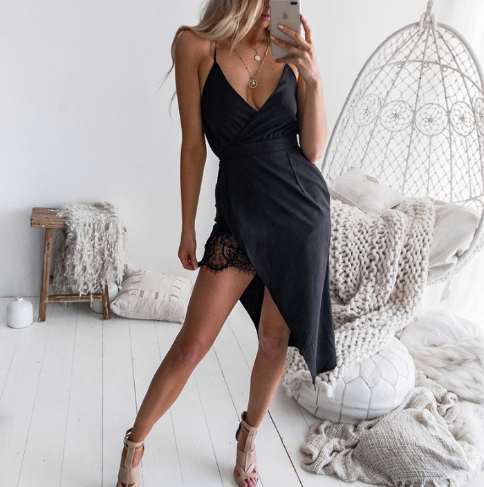 Irregular Sexy V-Neck Sling Lace Dress