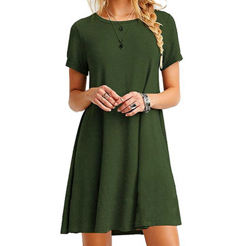 Women'S V-Neck Button Pocket Short-Sleeved Dress