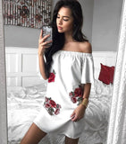 Sexy Fashion Shoulder One Word Floral Embroidery Rose Dress White