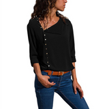 Fashion Irregular Button Long Sleeve Shirt