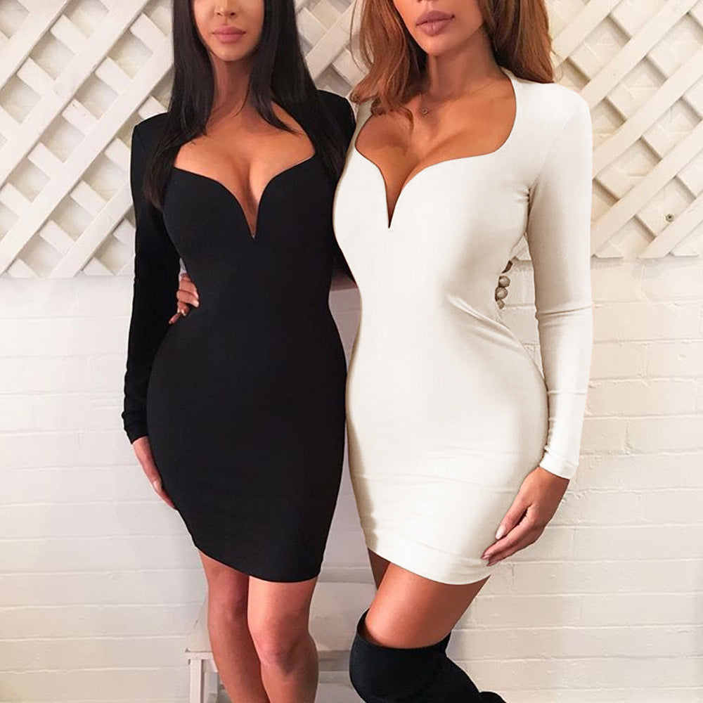 Women'S Long Sleeve Sexy V-Neck Dress
