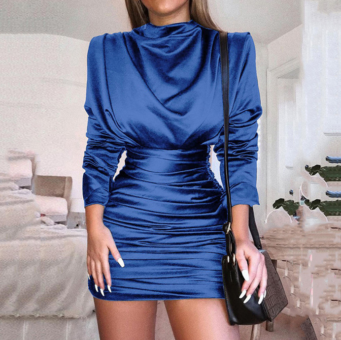 Women'S High-Necked Long-Sleeved Package Hip Dress