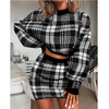 Solid Color Plaid Two-Piece Dress Set