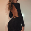 Slim Long-Sleeved Backless High-Necked Hip Dress