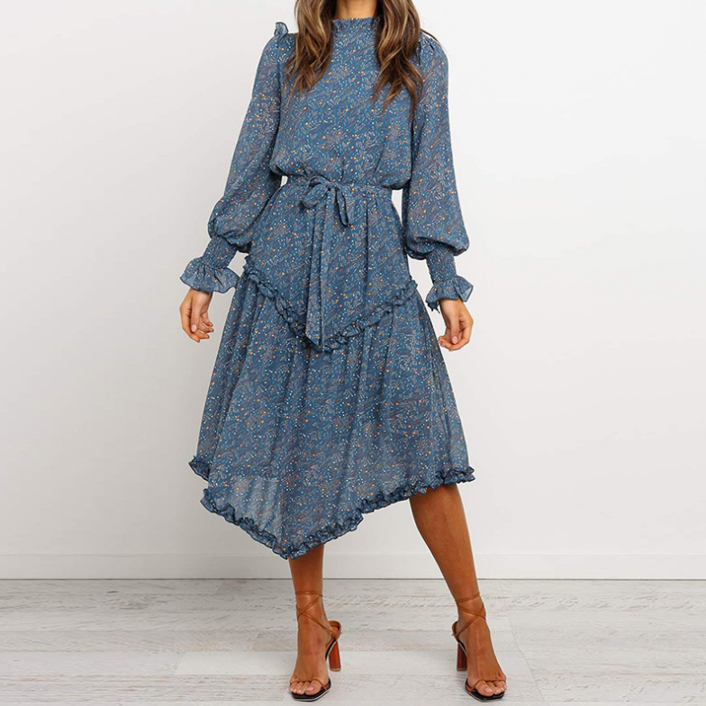 Sweet Print Long Sleeve Dress