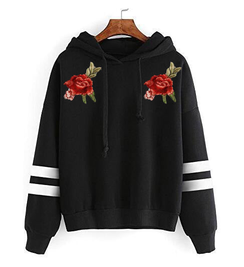 Loose Embroidery Long-Sleeved Hooded Sweater