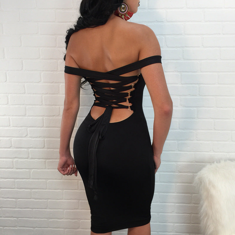 Sexy Sling Backless High Waist Dress