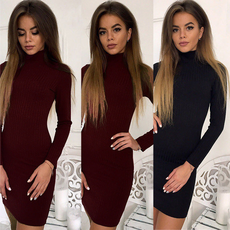 Solid Color Slim High-Necked Long-Sleeved Dress