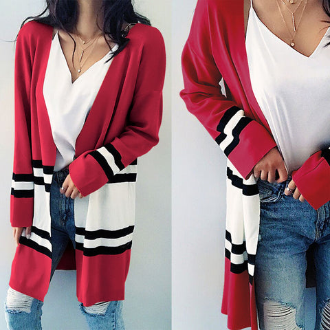 Long Sleeve Women'S Plaid Cardigan Coat
