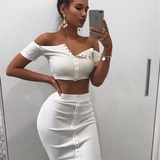 Fashion Short Sleeve High Waist Sexy Bag Hip Two-Piece Set
