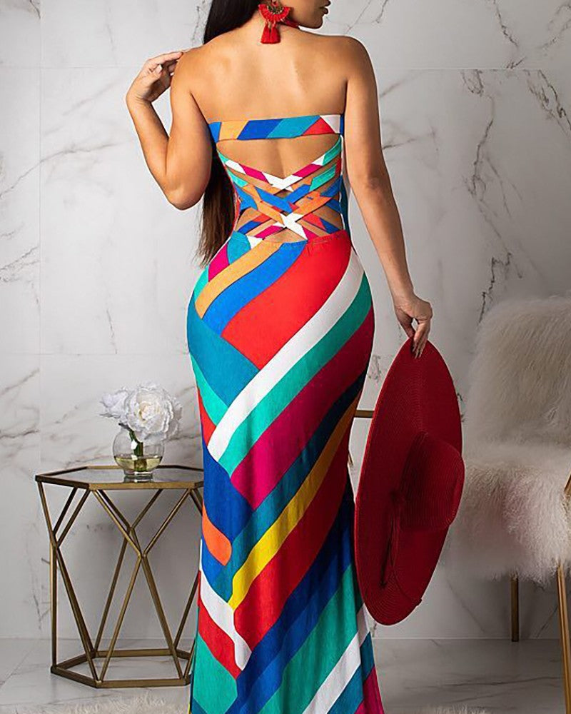 Sexy Printed Backless Sleeveless Dress