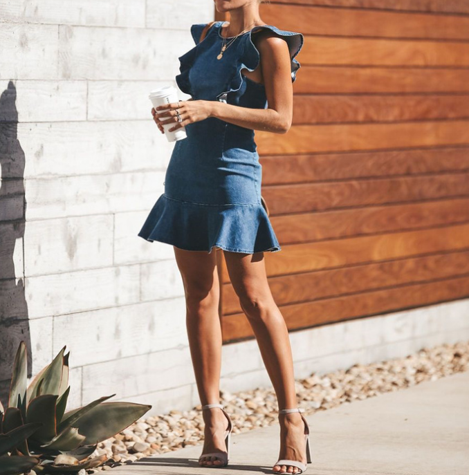 High Waist Sleeveless Ruffled Denim Dress
