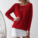 Women'S Loose Long Sleeve Round Neck Sweater