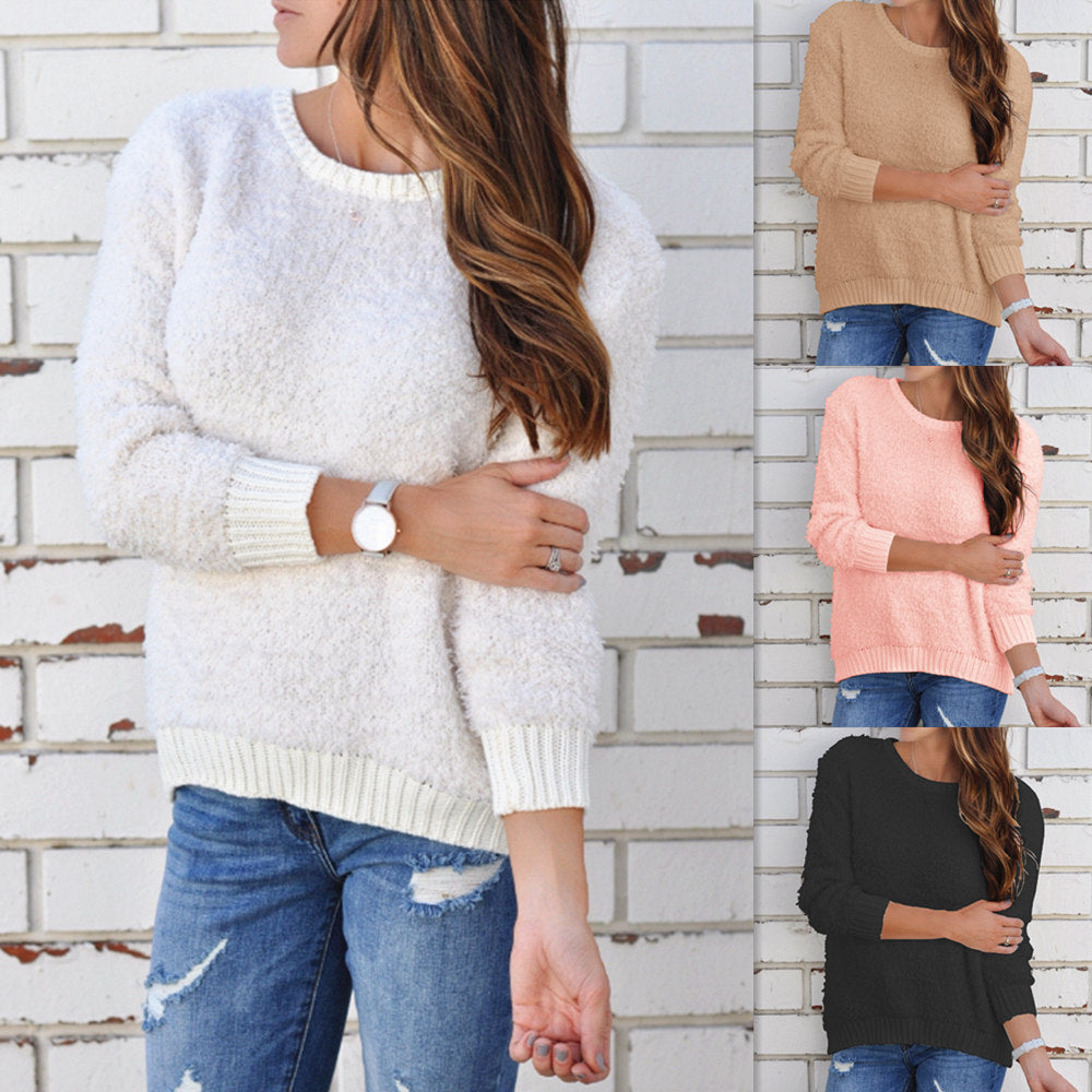 Solid Color Round Neck Long Sleeve Sweater