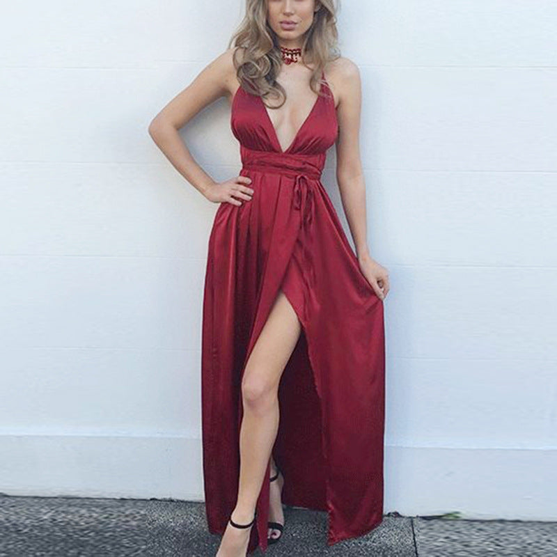 Solid Color Sexy V-neck Backless Beach Dress