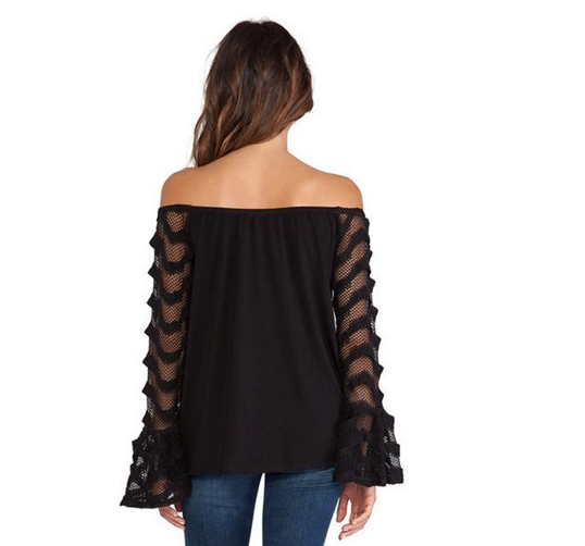 Fashion Lace Stitching Chiffon Black T-Shirt