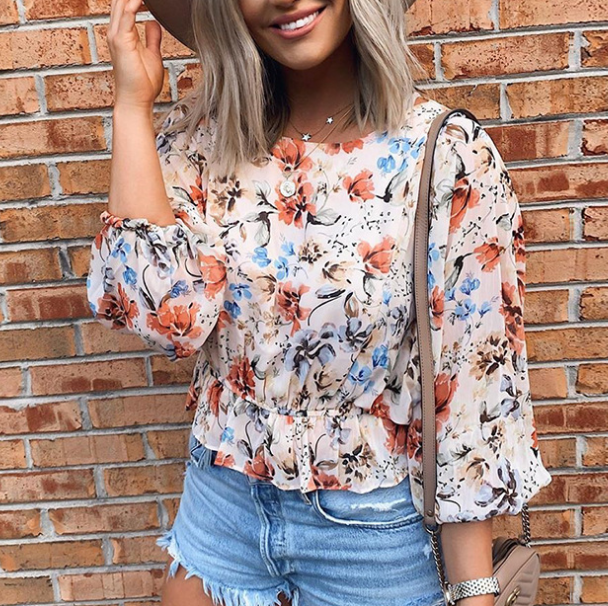 Long Sleeve Round Neck Chiffon Print Shirt