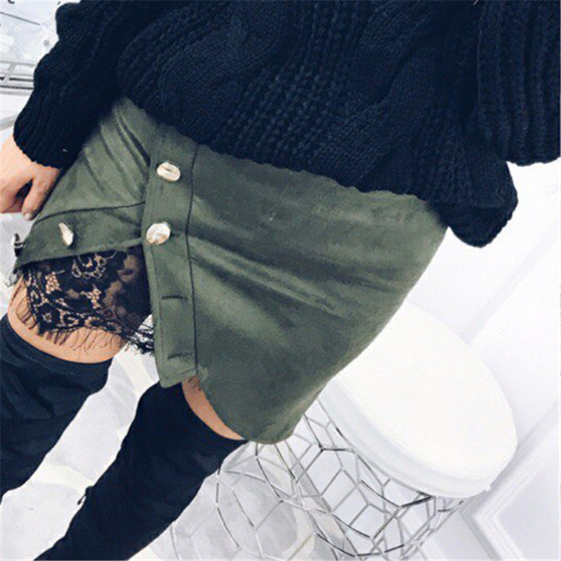 Women Solid Color Lace Package Hip Skirts