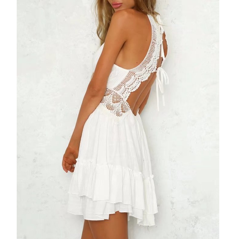 Women'S Sexy Halter Stitching Lace Dress