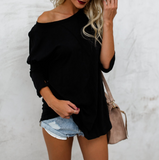 Fashion Solid Color Women's Round Neck Long Sleeve T-Shirt