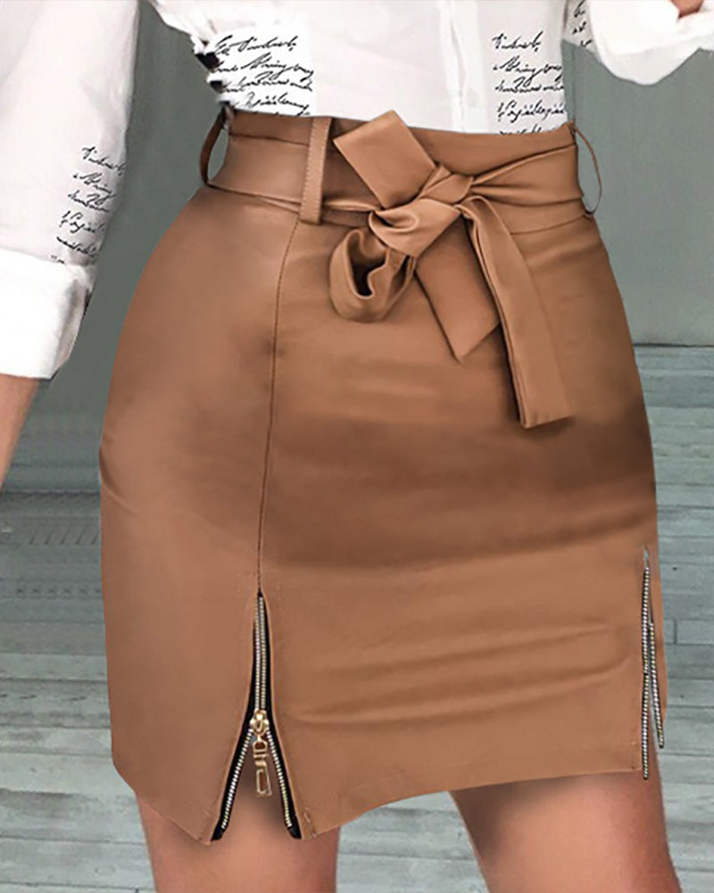 High Waist Sexy Zipper Bag Hip Skirt