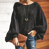 Large Size Loose Knit Long Sleeve Sweater