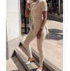 Skinny Beige Short Sleeve Pit Strip Two-Piece Suit