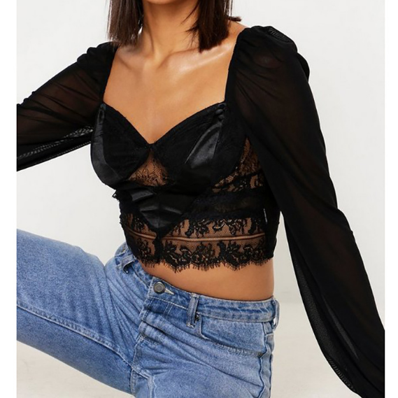 Slim Sexy Lace Wrapped Chest T-Shirt