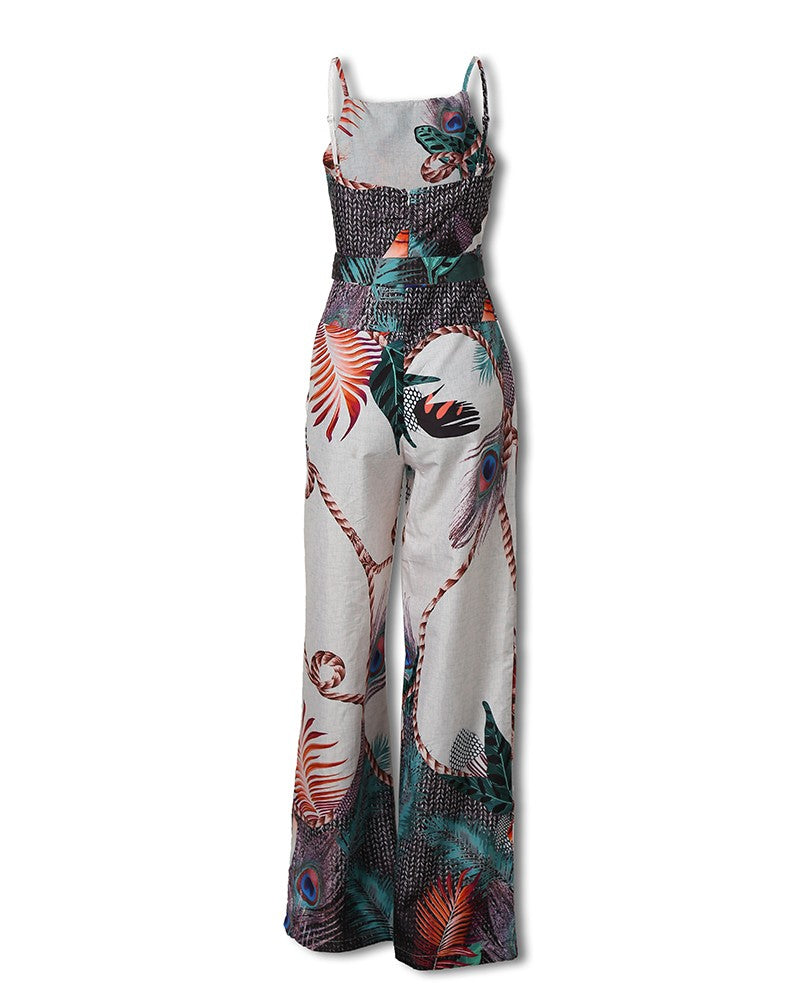 Sling Zipper Sleeveless Printed Jumpsuit