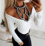 Beaded Long Sleeve Tight Shirt