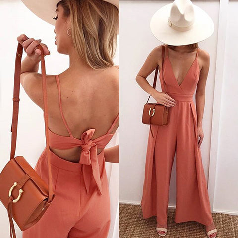 Design V-Neck Lace Jumpsuit